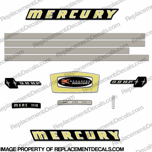 Mercury 1965 9.8HP Outboard Engine Decals