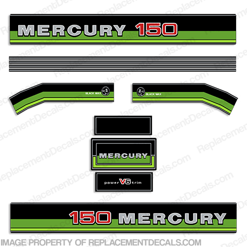 1981-1983 Mercury 150hp Decals - Custom Green