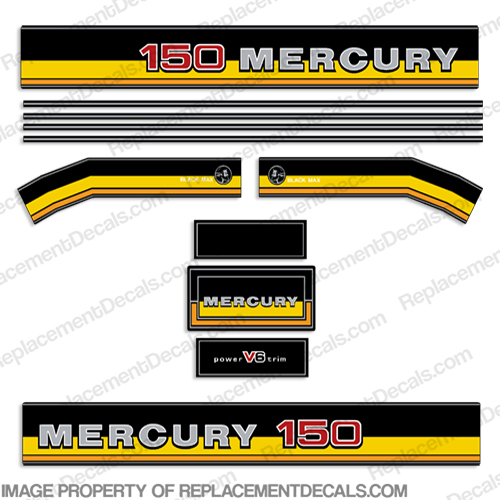 1981-1983 Mercury 150hp Decals - Custom Yellow 81, 83. 150