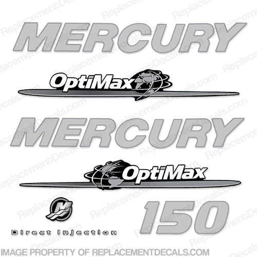 Mercury 150hp Decal Kit - Custom Design (Chrome/Silver)