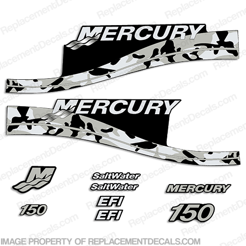 Mercury 150hp Decals - Grey Camo