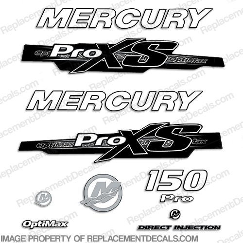 Mercury 150hp ProXS 2013+ Style Decals - White/Black pro xs, optimax proxs, optimax pro xs, optimax pro-xs, pro-xs, 150 hp