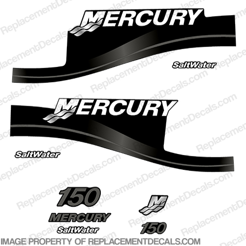 Mercury 150hp Saltwater Series Decal Kit - Dark Grey