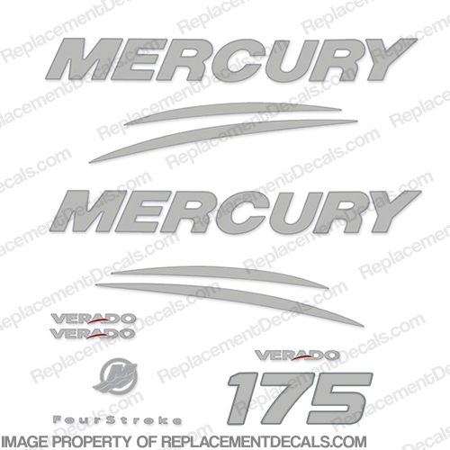 Mercury Verado 175hp Decal Kit - Chrome/Silver 175 hp