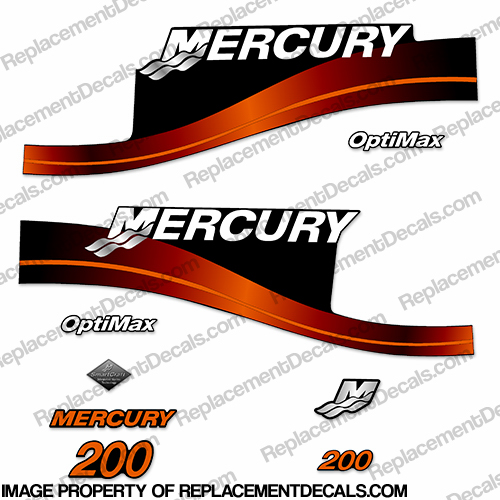 Mercury 200hp Optimax Decals - Custom Orange