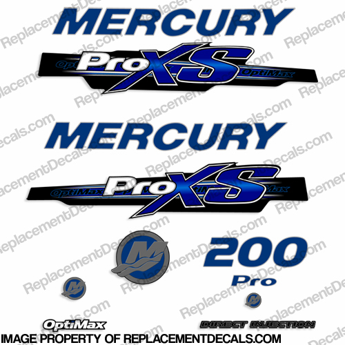 Mercury 200hp ProXS 2013+ Style Decals - Blue pro xs, optimax proxs, optimax pro xs, optimax pro-xs, pro-xs, 200 hp