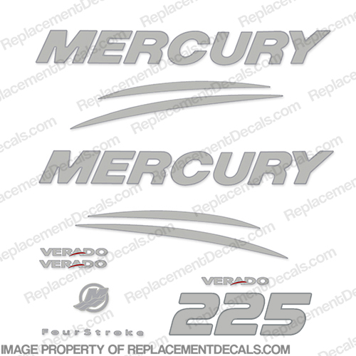 Mercury Verado 225hp Decal Kit - Chrome/Silver