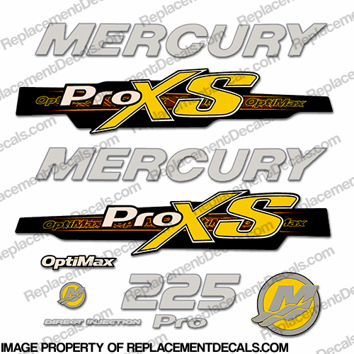 Mercury 225hp ProXS 2013+ Style Decals - Yellow/Silver pro xs, optimax proxs, optimax pro xs, optimax pro-xs, pro-xs, 225 hp