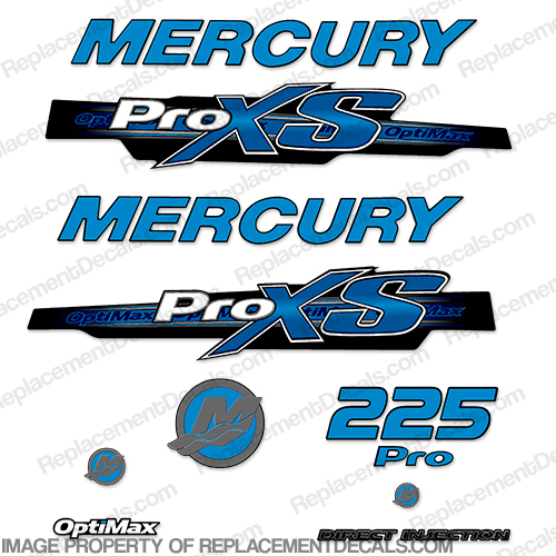 Mercury 225hp ProXS 2013+ Style Decals - Olympic Blue pro xs, optimax proxs, optimax pro xs, optimax pro-xs, pro-xs, 225 hp
