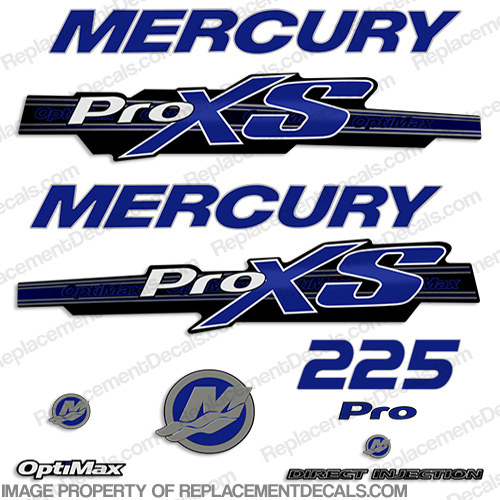 Mercury 225hp ProXS 2013+ Style Decals - Blue pro xs, optimax proxs, optimax pro xs, optimax pro-xs, pro-xs