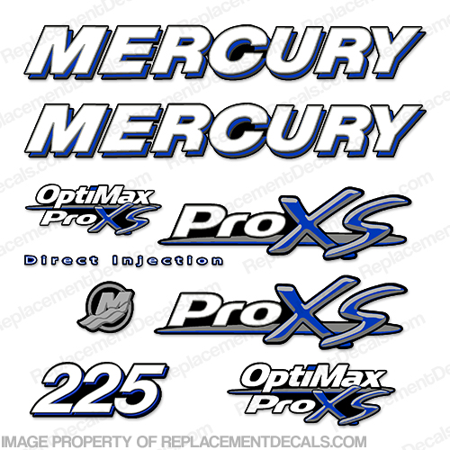 Mercury 225hp ProXS Decal Kit - Blue pro xs, optimax proxs, optimax pro xs, optimax pro-xs, pro-xs, 225 hp