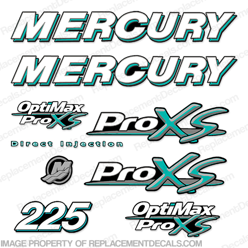 Mercury 225hp ProXS Decal Kit - Teal pro xs, optimax proxs, optimax pro xs, optimax pro-xs, pro-xs, 225 hp