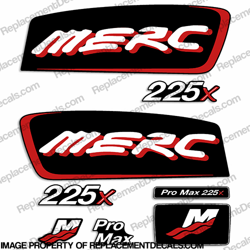 Mercury 225x ProMax Alien Cowl Decals - Custom Color Red pro. max, pro max, pro-max