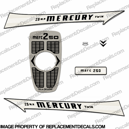 Mercury 1962 25HP Outboard Engine Decals