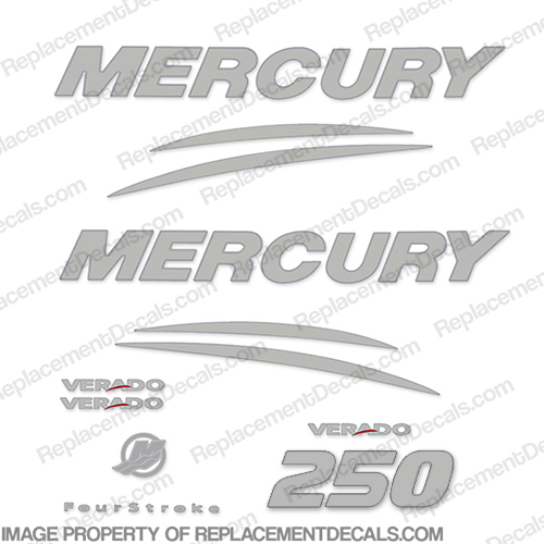 Mercury Verado 250hp Decal Kit - Chrome/Silver