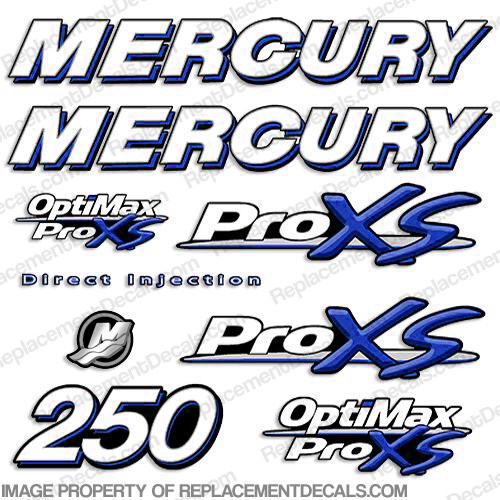 Mercury 250hp ProXS Decal Kit - Blue pro xs, optimax proxs, optimax pro xs, optimax pro-xs, pro-xs, 250 hp