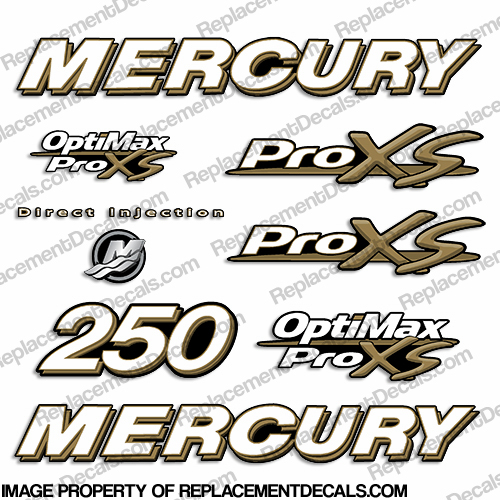 Mercury 250hp ProXS Decal Kit - Gold pro xs, optimax proxs, optimax pro xs, optimax pro-xs, pro-xs