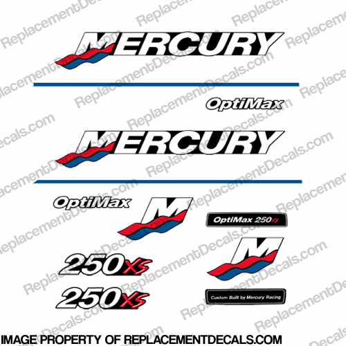 Mercury Custom 250xs Racing Decals - Red/Blue