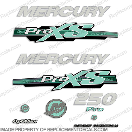 Mercury 250hp ProXS 2013+ Style Decals - Sea Foam pro xs, optimax proxs, optimax pro xs, optimax pro-xs, pro-xs
