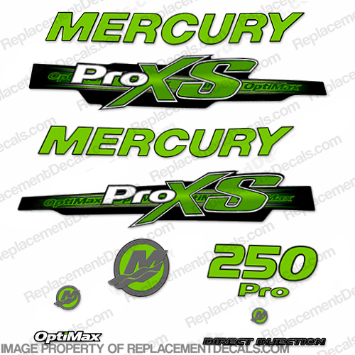 Mercury 250hp ProXS 2013+ Style Decals - Green pro xs, optimax proxs, optimax pro xs, optimax pro-xs, pro-xs, 250 hp