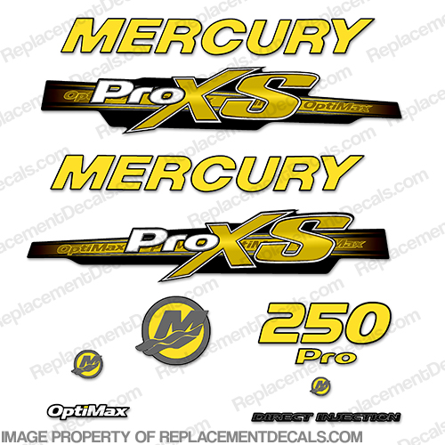 Mercury 250hp ProXS 2013+ Style Decals - Yellow pro xs, optimax proxs, optimax pro xs, optimax pro-xs, pro-xs, 250 hp