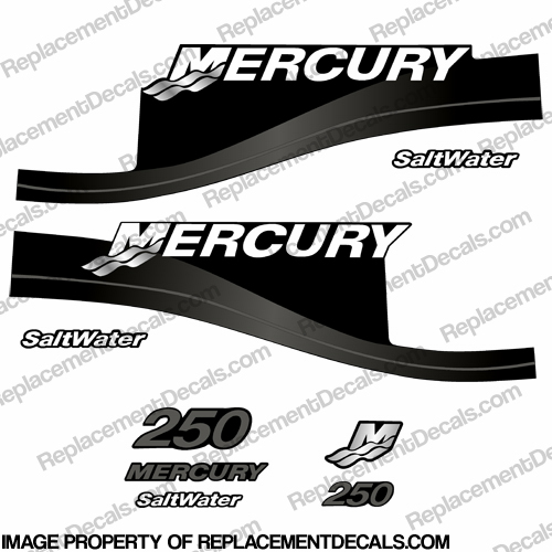 Mercury 250hp Saltwater Series Decal Kit - Dark Grey