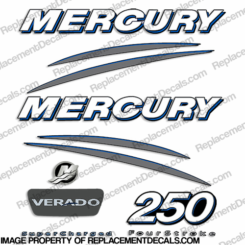 Mercury Verado 250hp Decal Kit - Blue