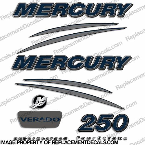 Mercury Verado 250hp Decal Kit - Navy/Charcoal