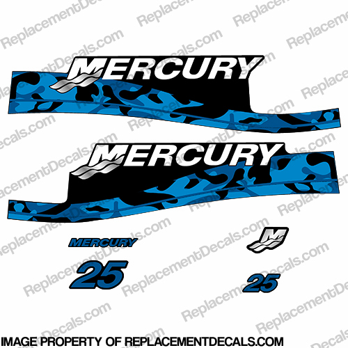 Mercury 25hp Decal Kit - Custom Color Blue Camo