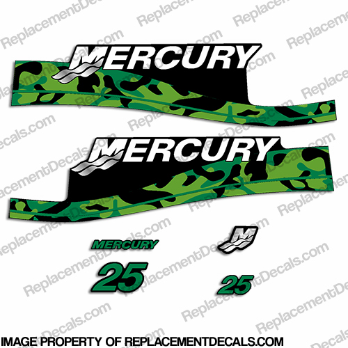 Mercury 25hp Decal Kit - Custom Color Green Camo