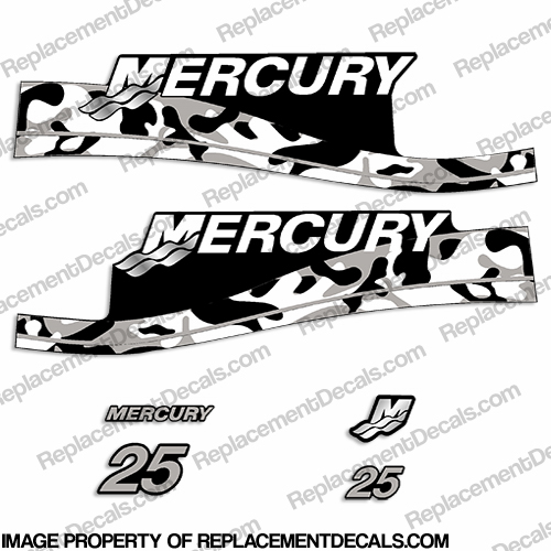 Mercury 25hp Decals - Grey Camo