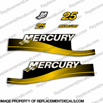 Mercury 25hp Decal Kit - Custom Color Yellow!