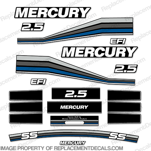 Mercury 260hp Racing 2.5L Decal Kit - Custom Blue