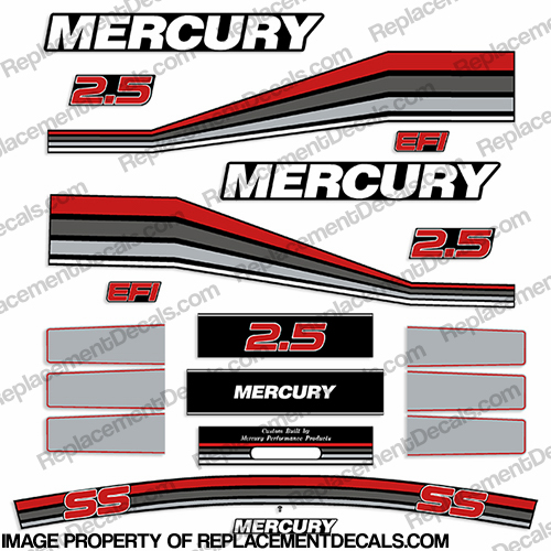 Mercury 260hp Racing 2.5L Decal Kit - Custom Red/Grey