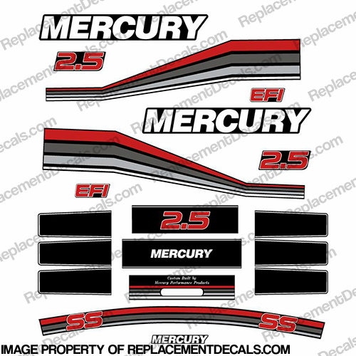 Mercury 260hp Racing 2.5L Decal Kit - Custom Red