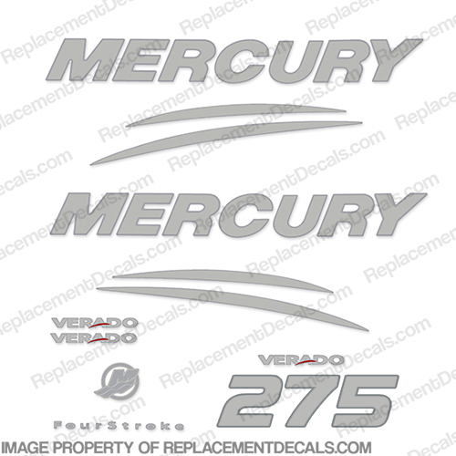 Mercury Verado 275hp Decal Kit - Chrome/Silver 275 hp
