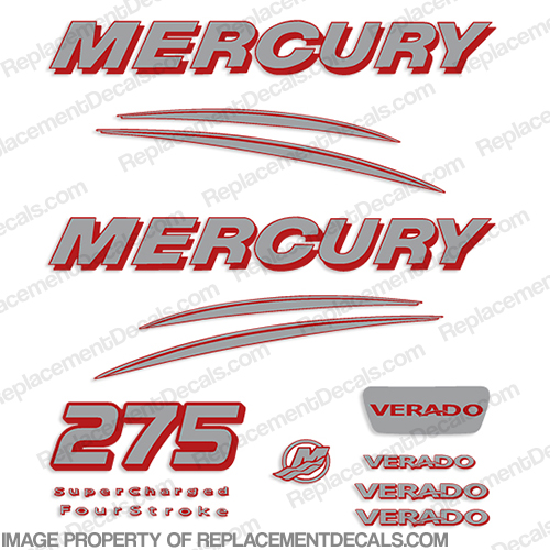 Mercury 275hp Verado Decals - 2 Color!