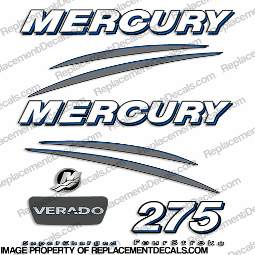 Mercury Verado 275hp Decal Kit - Blue