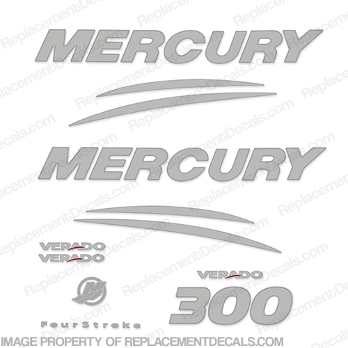 Mercury Verado 300hp Decal Kit - Chrome/Silver