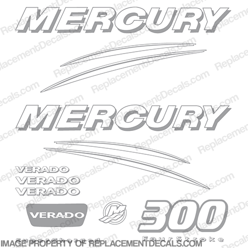 Mercury Verado 300hp Decal Kit - Any Color!