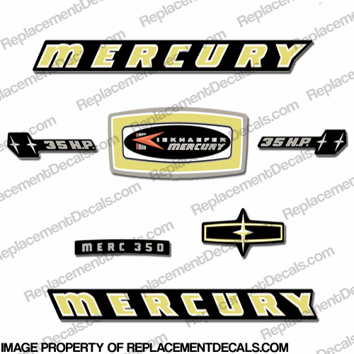 Mercury 1965 35HP Outboard Engine Decals