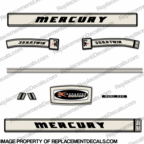 Mercury 1966 35HP Outboard Engine Decals