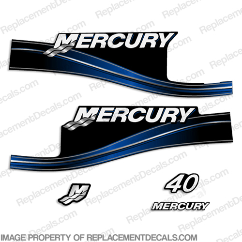 Mercury 115 Four 4 Stroke Decal Kit Outboard Engine Graphic Motor Stickers BLUE