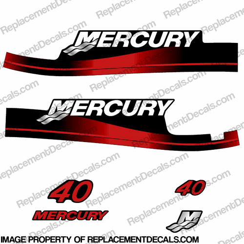 Mercury 40hp Electric Start Decal Kit 1999-2006 (Red)