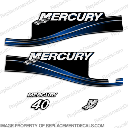 Mercury 40hp 2 Stroke Decal Kit (Blue) 2005 - 2009 with Oil Window 40 hp, 2 stroke, 2005, 2006, 2007, 2008, 2009, oil window, 40, 2-stroke, 05, 06, 07, 08, 09