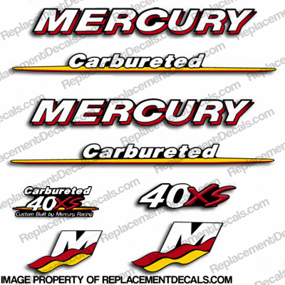 Mercury Custom 40hp Racing 40xs Decals - You choose style!