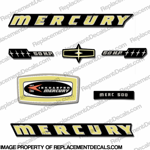 Mercury 1965 50HP Outboard Engine Decals