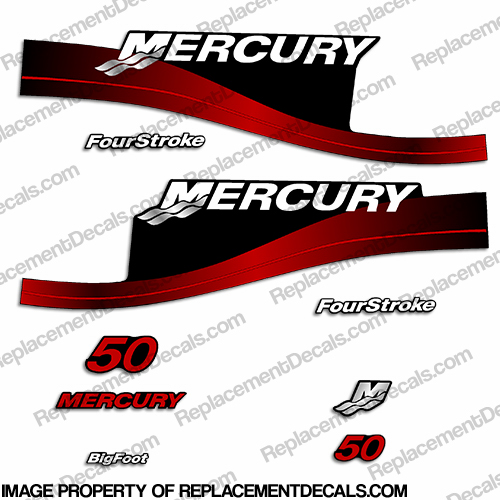 Mercury 50hp FourStroke Decals (Red) - 2000 Bigfoot 50 hp, four stroke, 4 stroke, 4-stroke, four-stroke, big foot, 50, big-foot