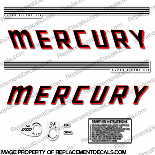 Mercury 1960 60hp Outboard Engine Decals