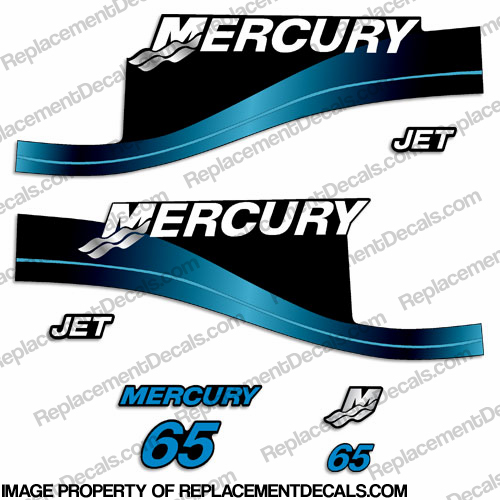 "Mercury 65hp ""Jet Drive"" Two Stroke Decals (Blue)"